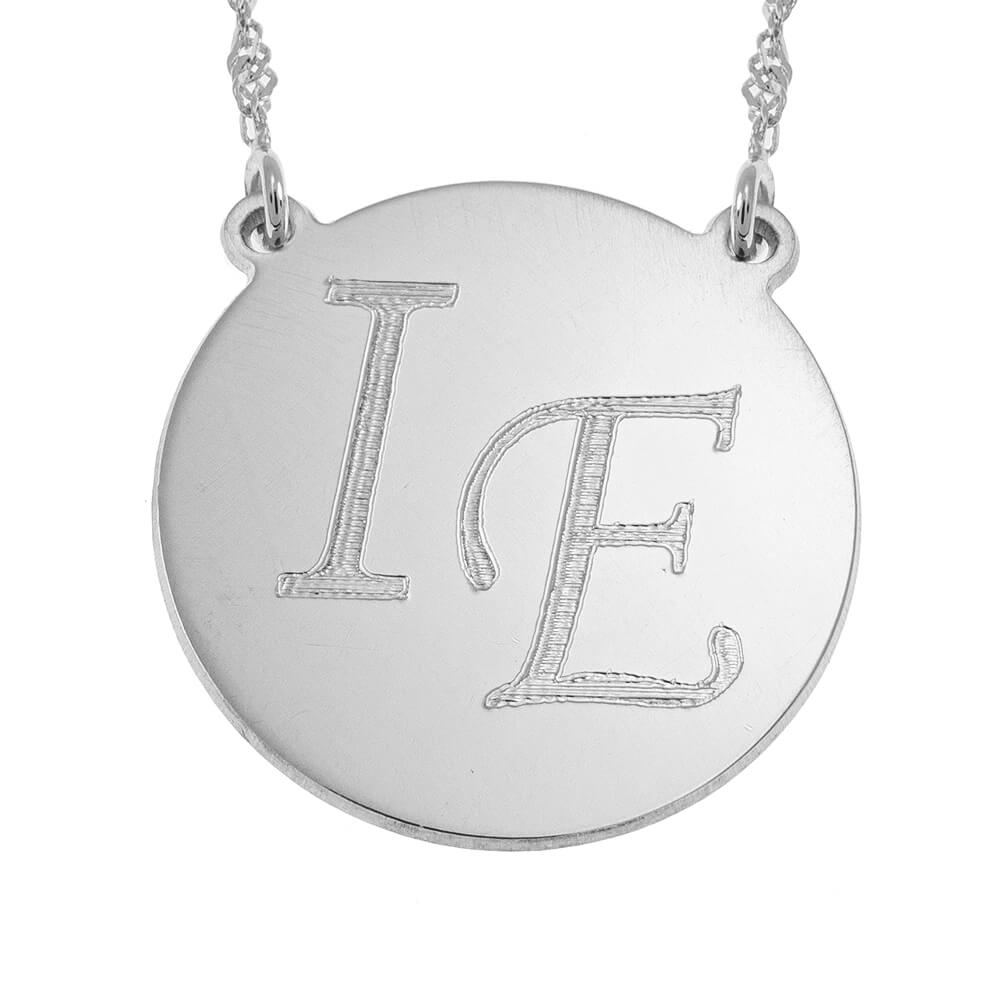 Disc Necklace With Two Initials silver