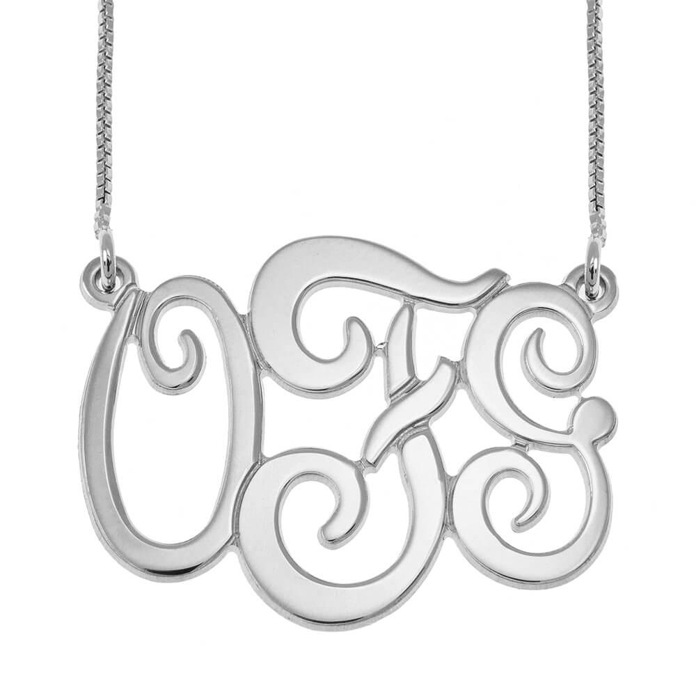 Monogram Three Initials Necklace silver
