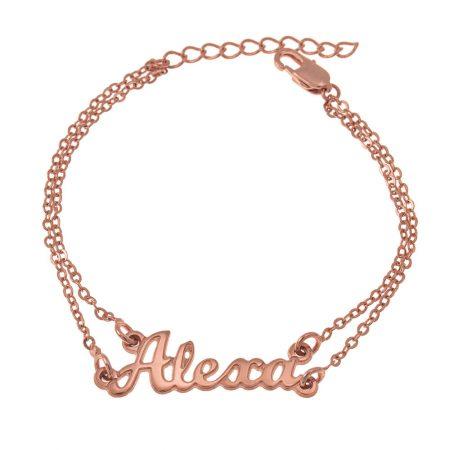 Cut Out Name Double Chain Bracelet