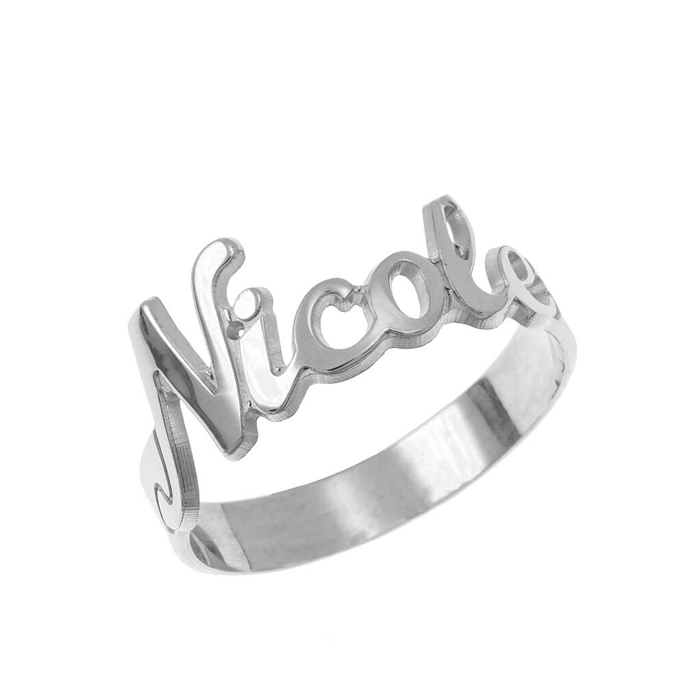Cut out Name Ring silver