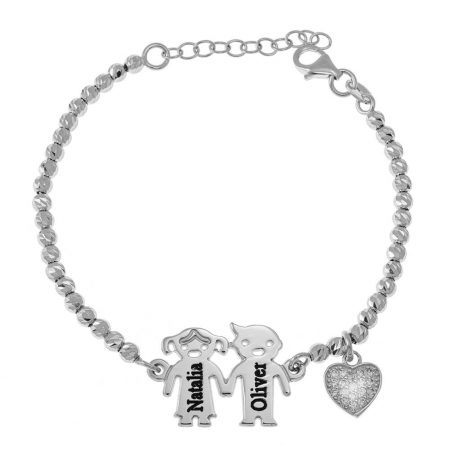 Engraved Children Bead Bracelet with Inlay Heart