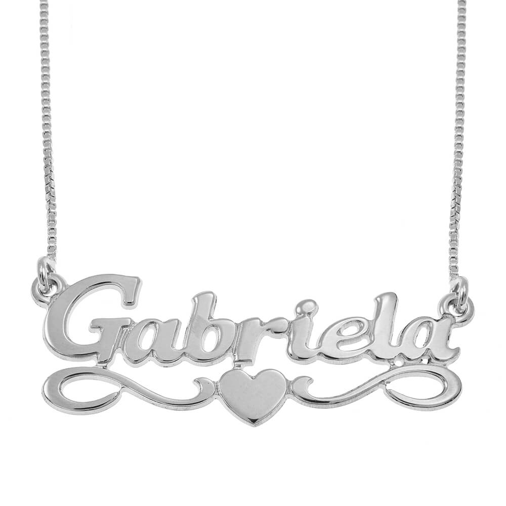 Middle Heart Name Necklace silver