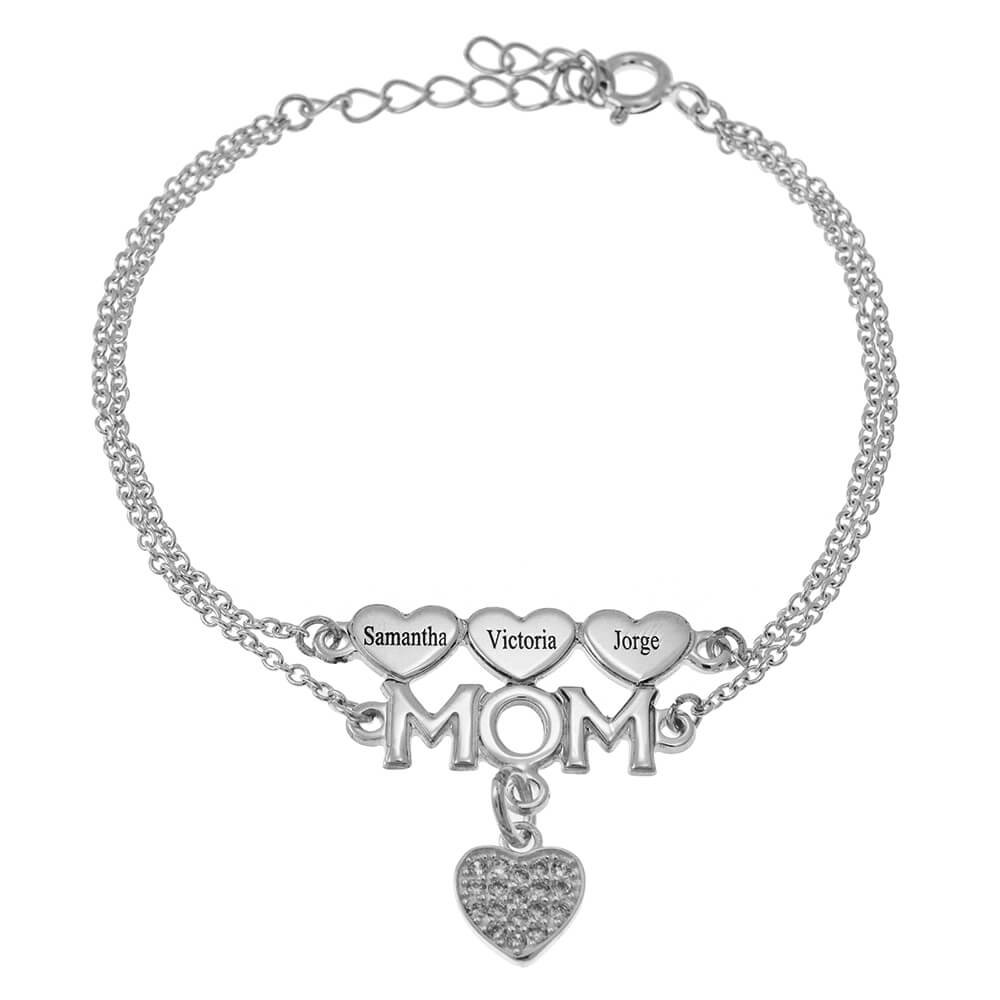 Mom Double Chain Bracelet With Hearts And Inlay Heart silver