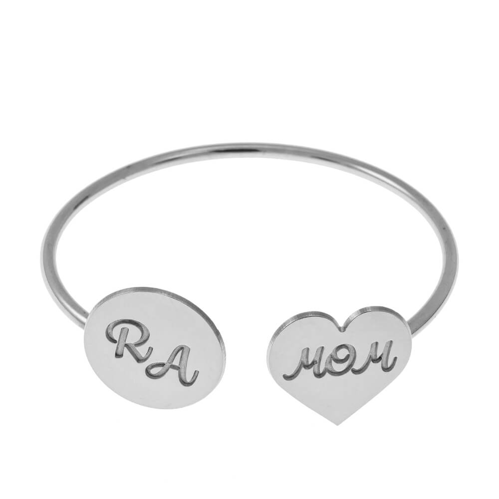Open Bangle With Mom Heart and Disc silver
