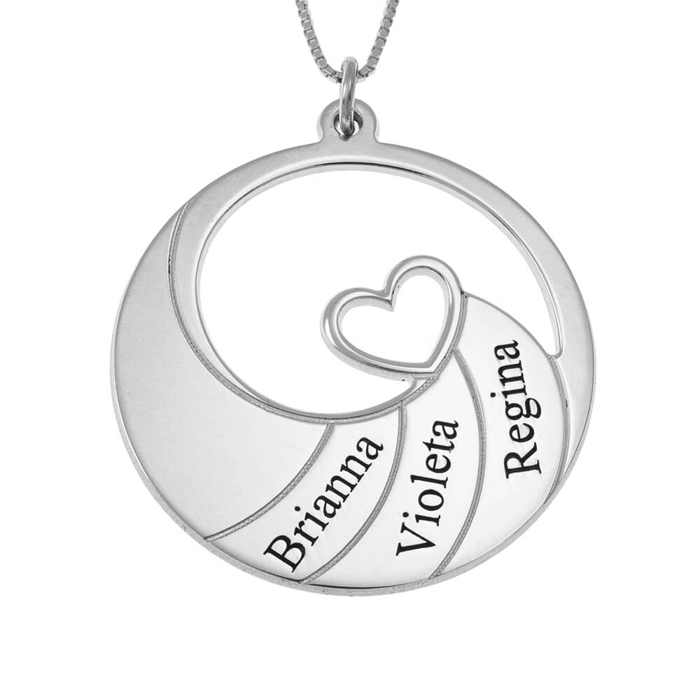 Three Names Spiral Necklace silver