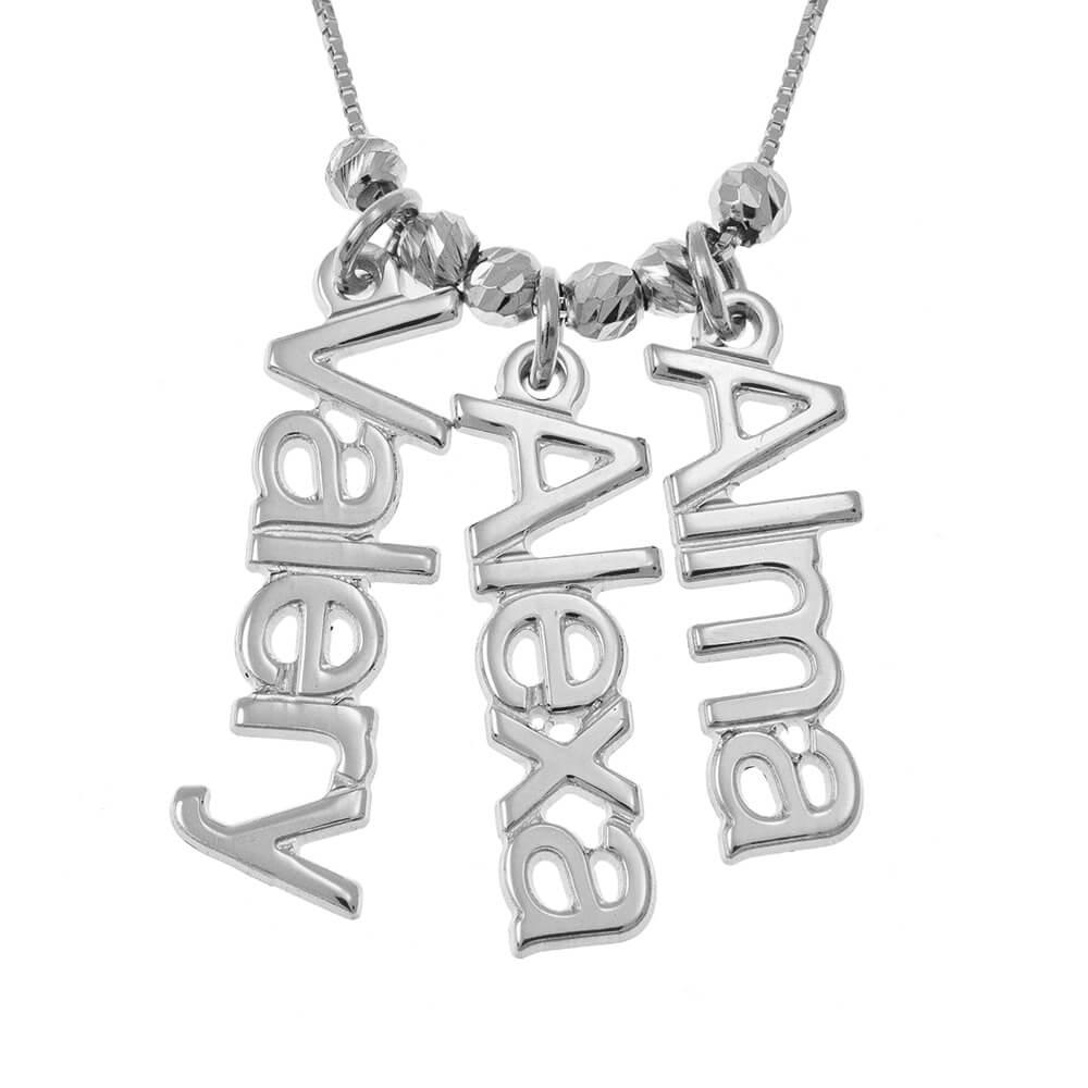 Vertical Names Necklace silver