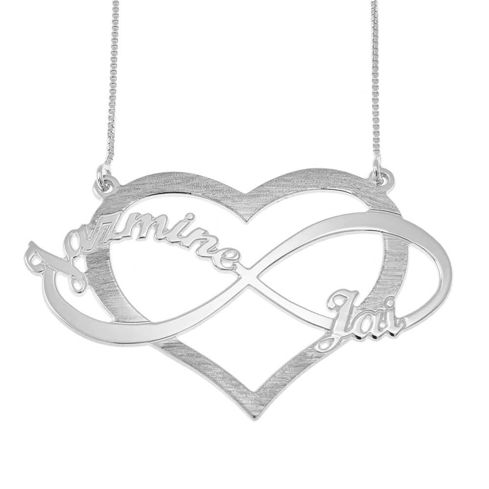 Cut Out Infinity Names and Heart Necklace silver
