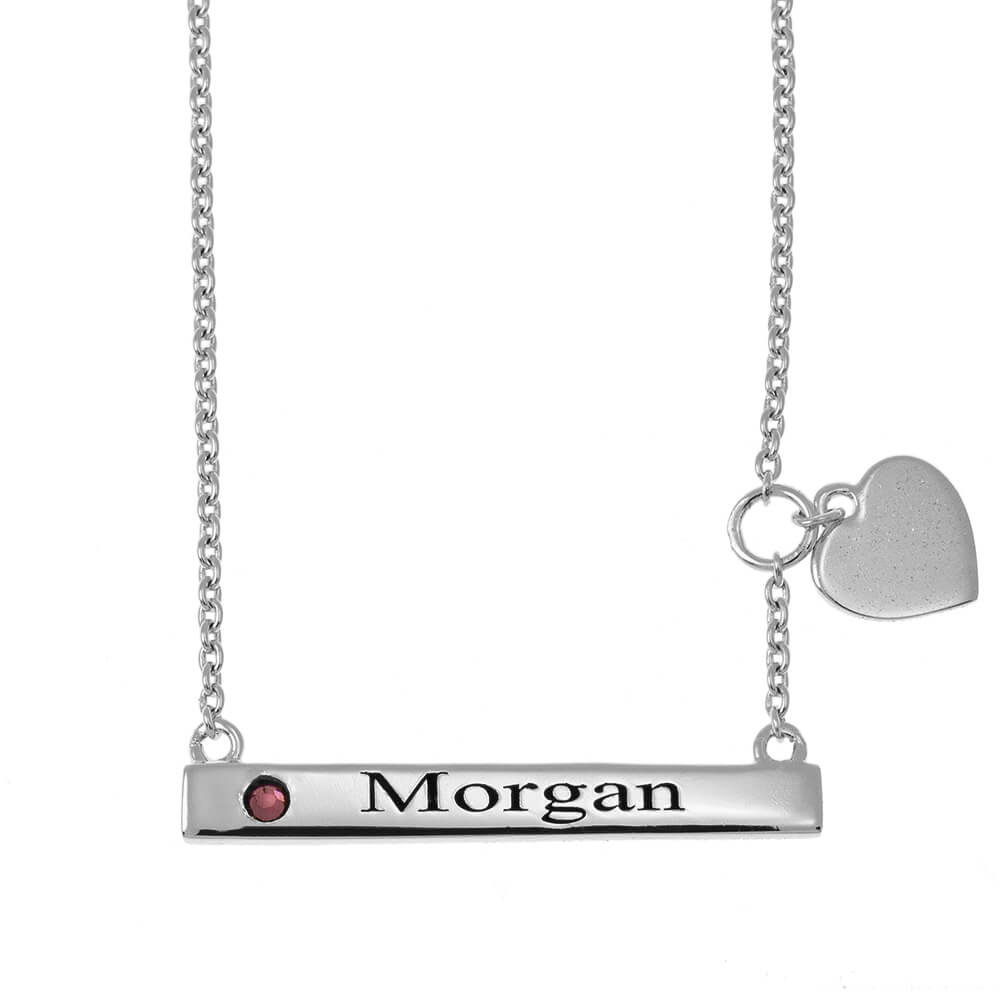 Horizontal Bar Name Necklace With Heart silver