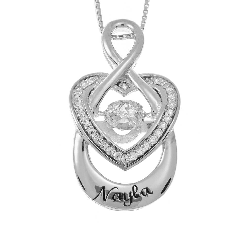 Infinity Inlay Heart Necklace silver