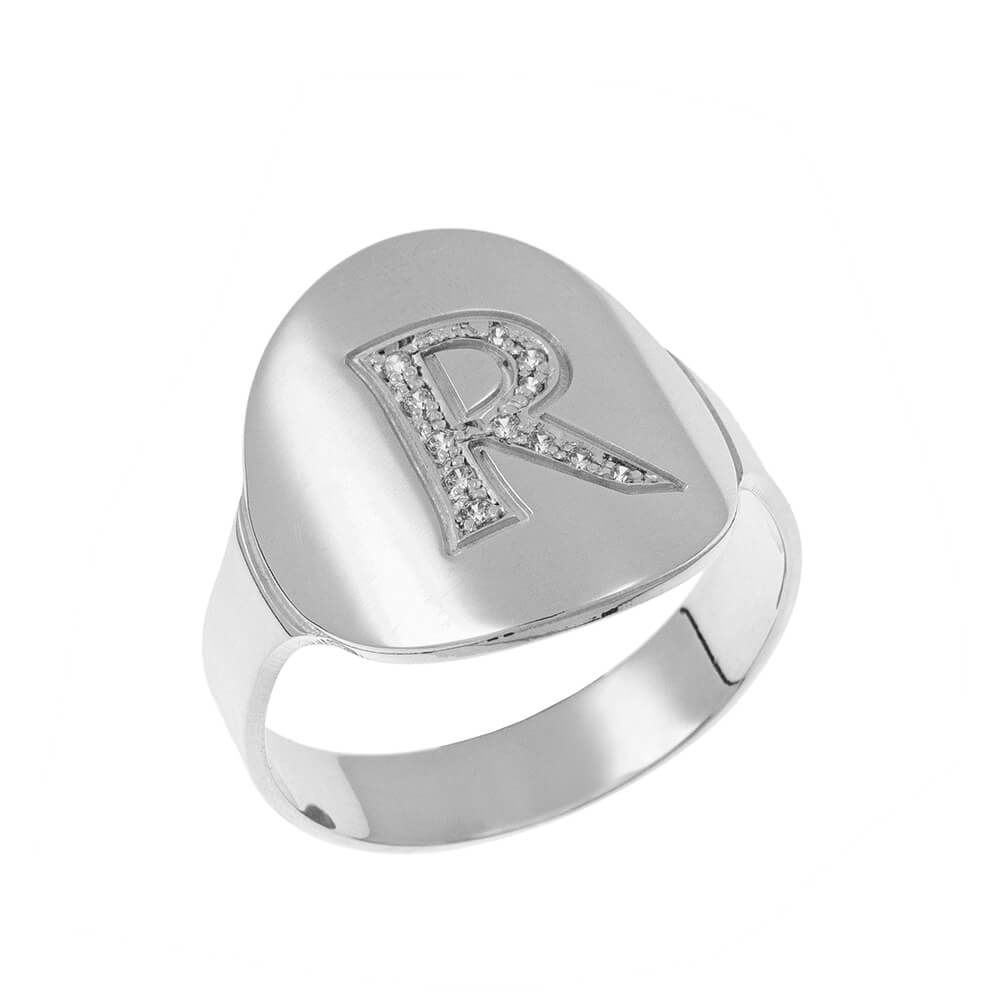 Inlay Signet Ring silver