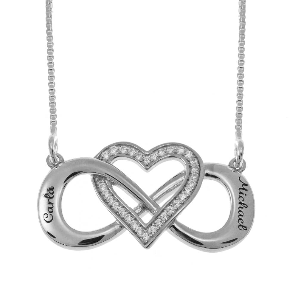 Intertwined Inlay Heart and Infinity Necklace silver
