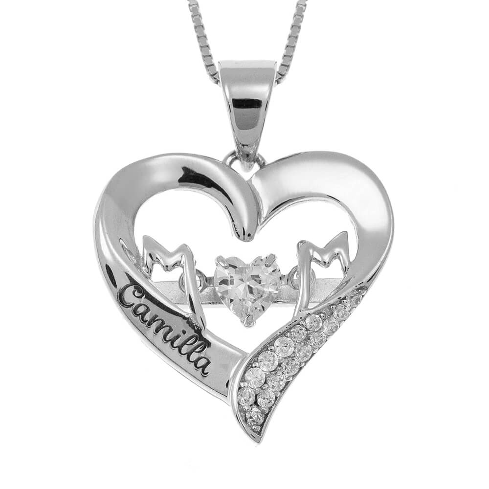MoM Heart Necklace with Name silver