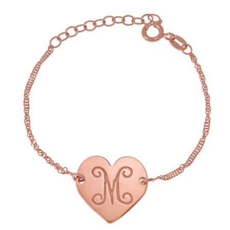 Monogram Initial Heart Bracelet