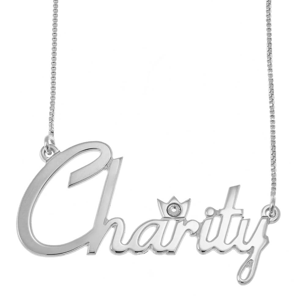 Name Necklace With Crown and Birthstone silver