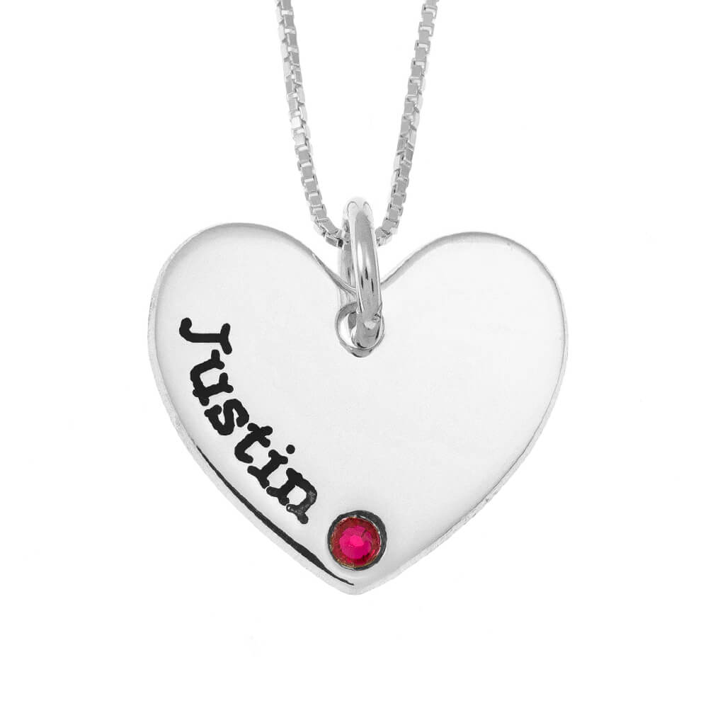 One Shade Engraved Heart Mother Necklace With Birthstone silver
