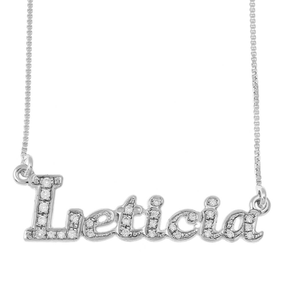 Sparkly Name Necklace silver
