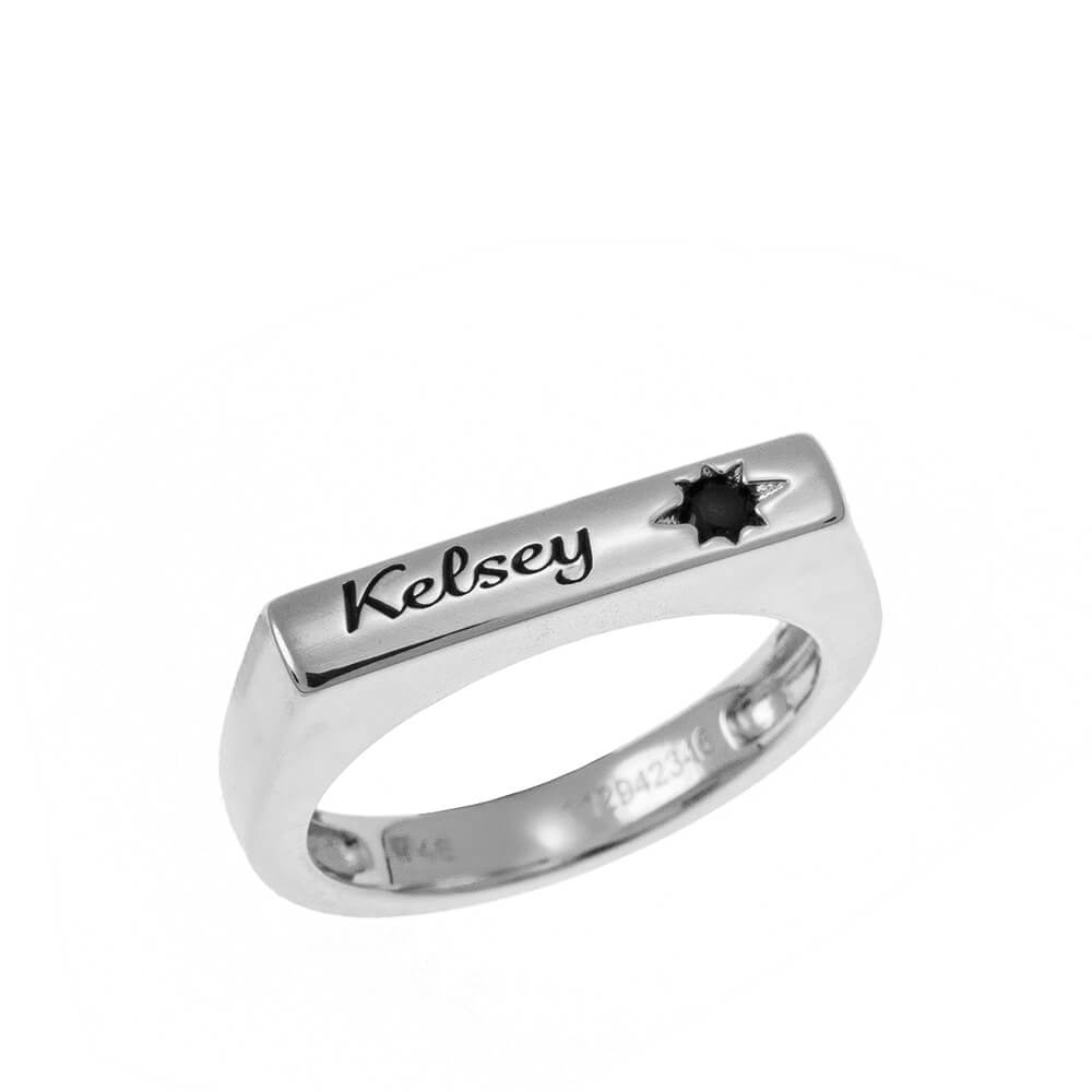 Stackable Bar Name Ring With Black Stone silver