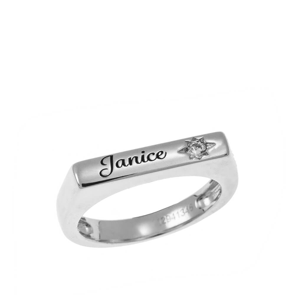 Stackable bar Name Ring With White Stone silver