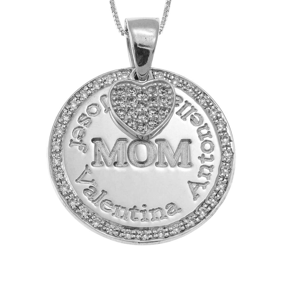 Circle Mother Necklace With Inlay Heart silver