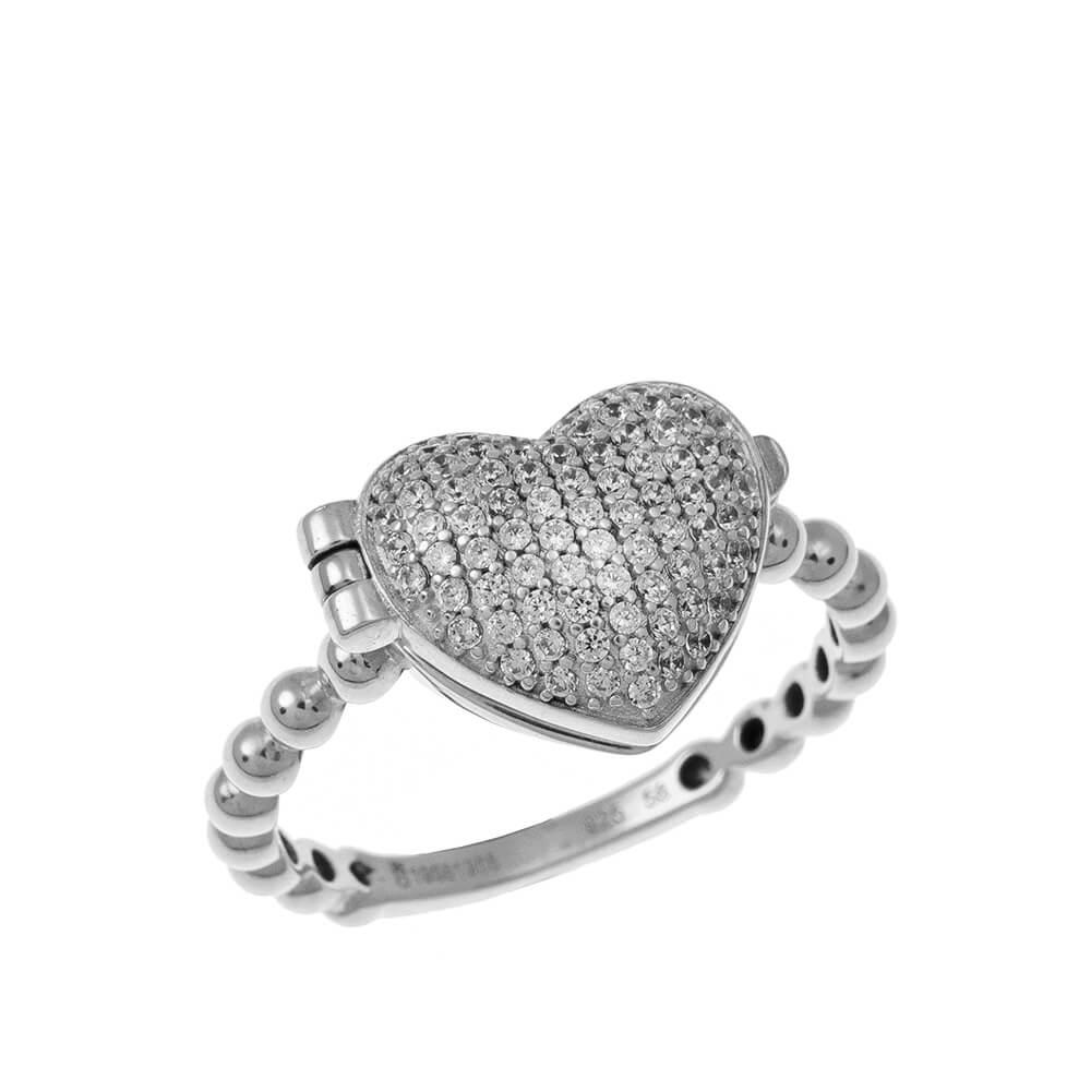 Close Locket Heart Ring silver