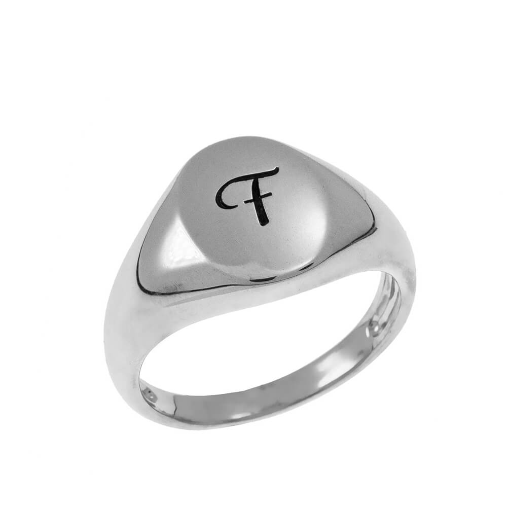 Initial Oval Signet Ring silver