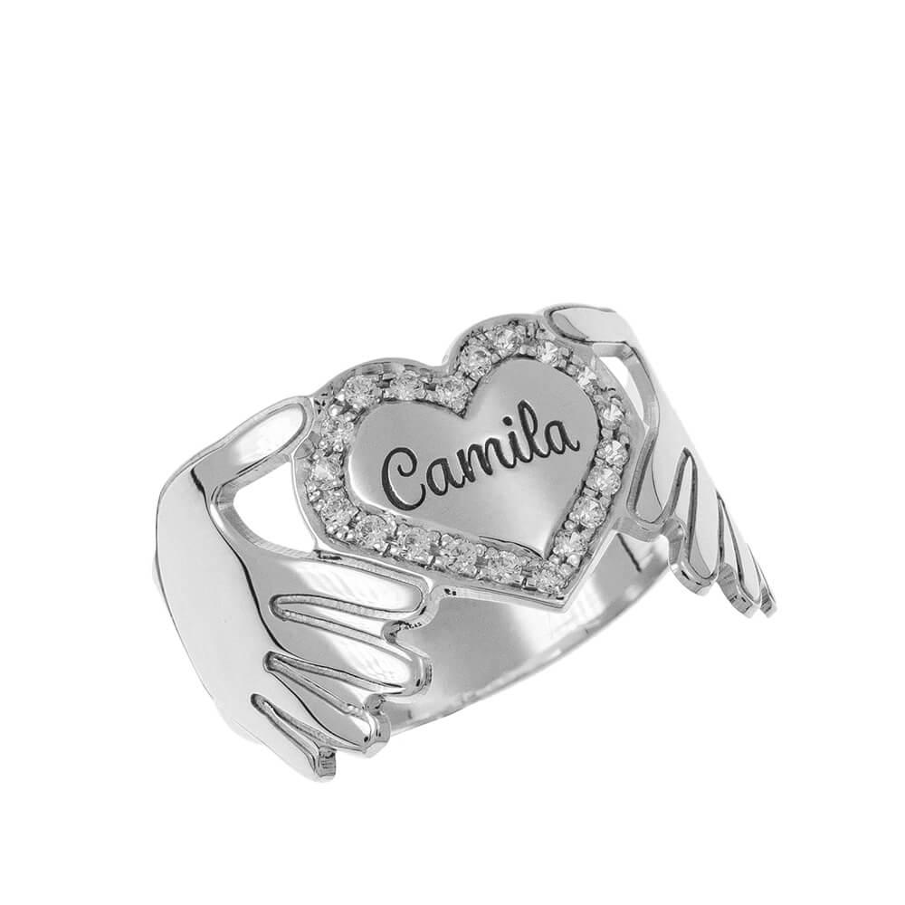 Inlay Heart Ring silver