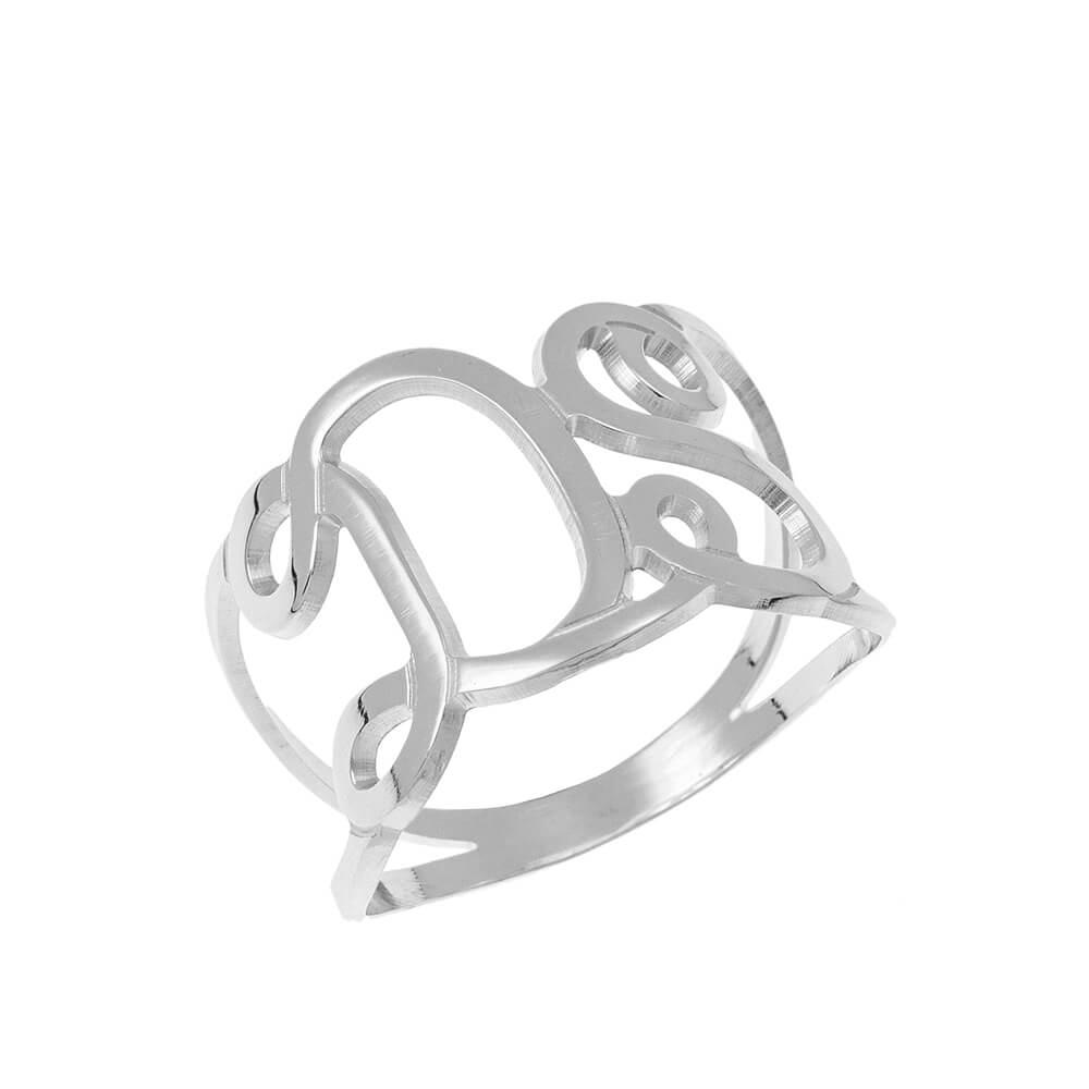 Interlocking Initials Ring silver