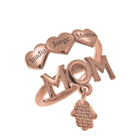MUM Names Ring With Hearts