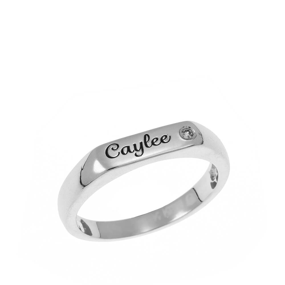 Stackable Inlay Name Ring silver