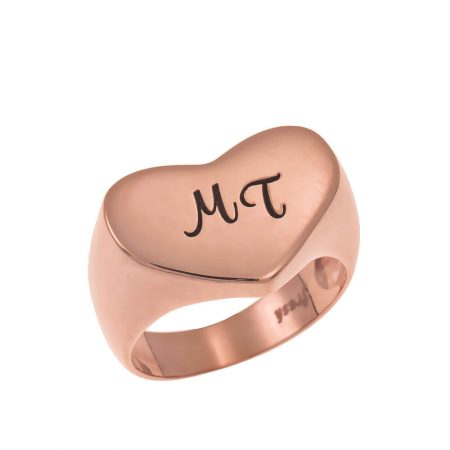 Two Initials Heart Signet Ring