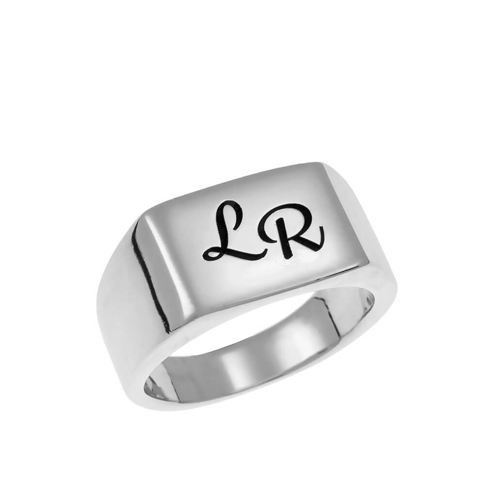 Two Initials Signet Ring silver