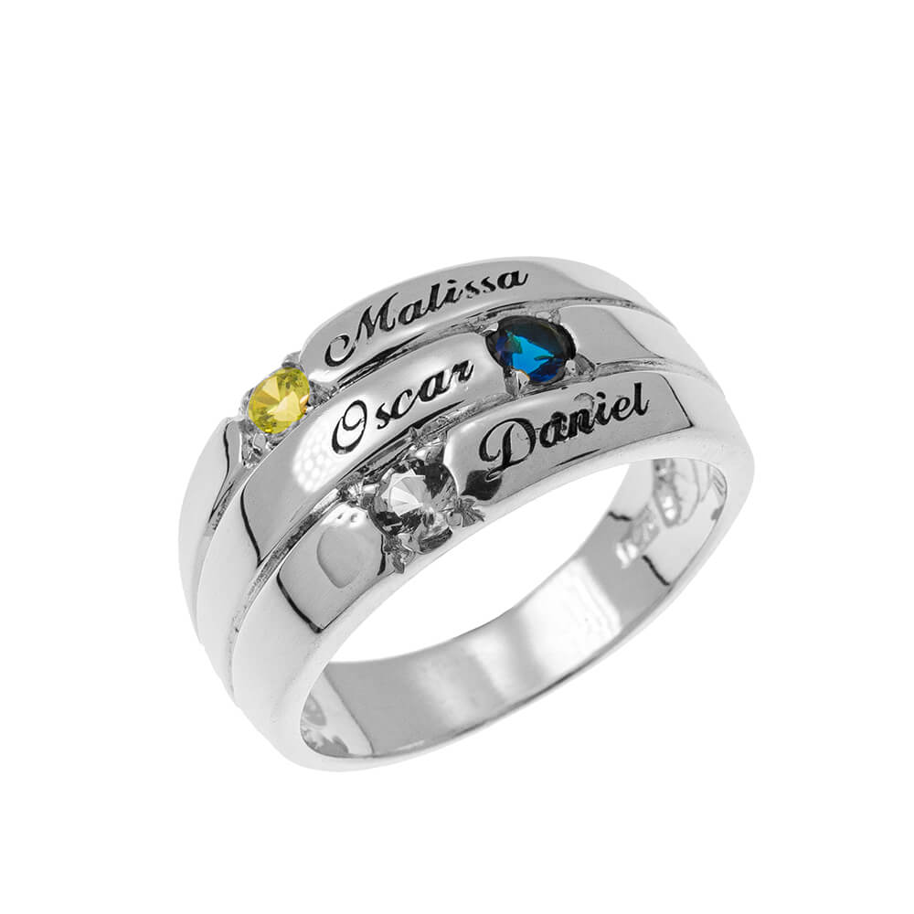 3 Stones Mother Ring silver