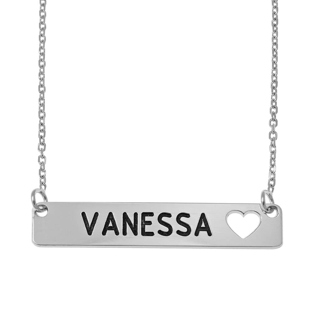 Bar Necklace with Cut out Heart silver