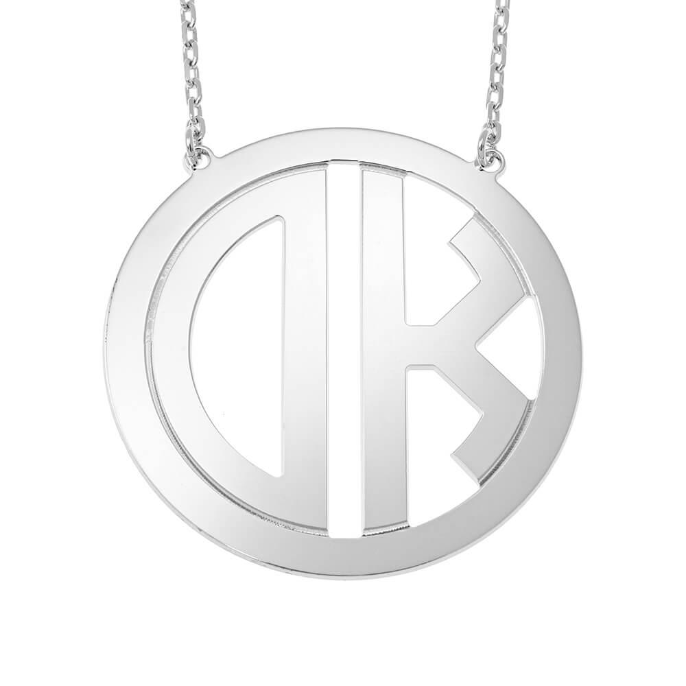 Circle Block Monogram Necklace silver