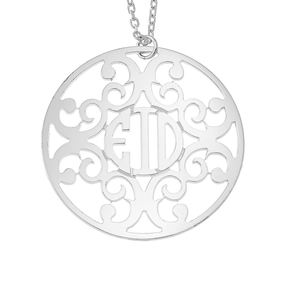 Circle Decorated Monogram Necklace silver