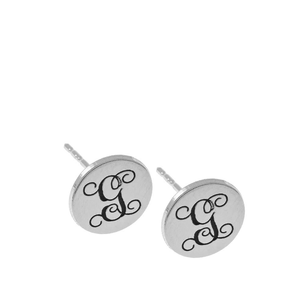 Circle Monogram Stud Earrings silver