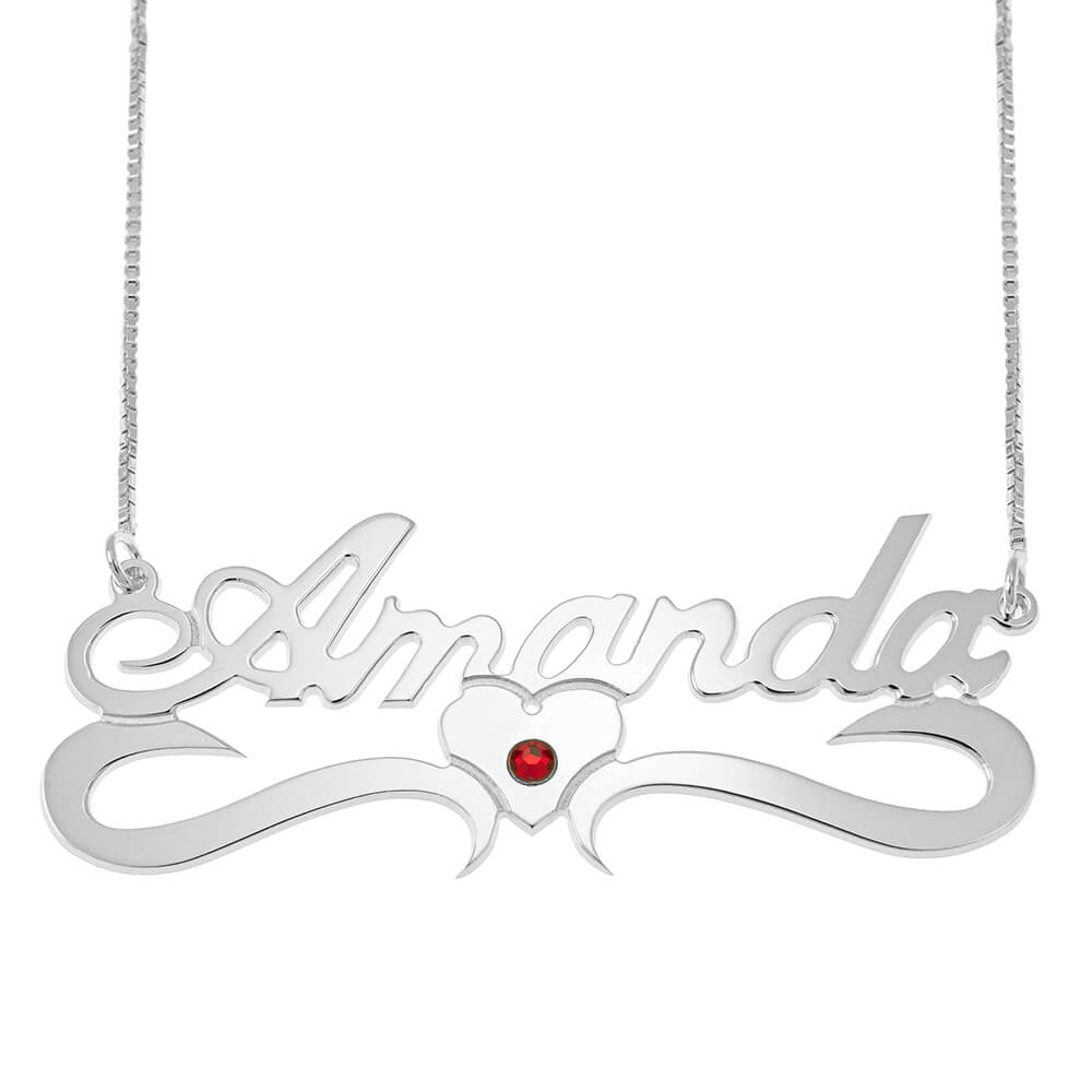 Classic Middle Heart Box Name Necklace With Birthstone silver