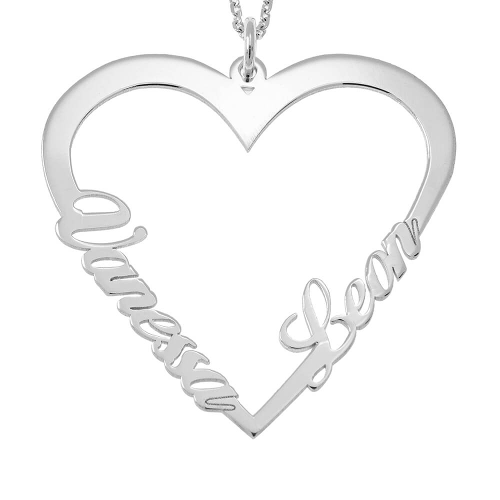 Couple Heart Name Necklace silver