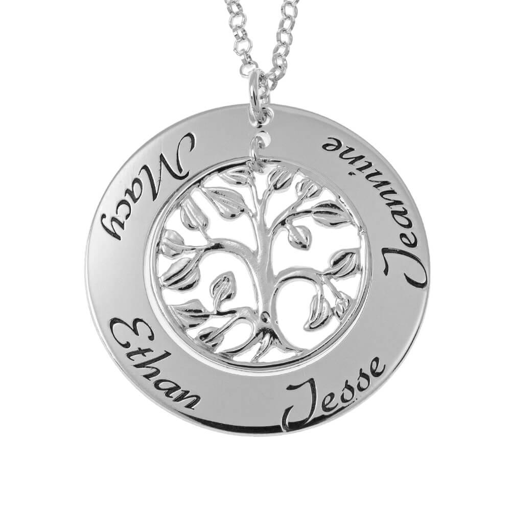Cut Out Family Tree Names Necklace silver