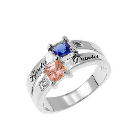 Double Birthstone Promise Ring