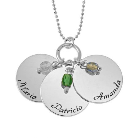 Elegant Three Discs with Birthstone Charms Necklace