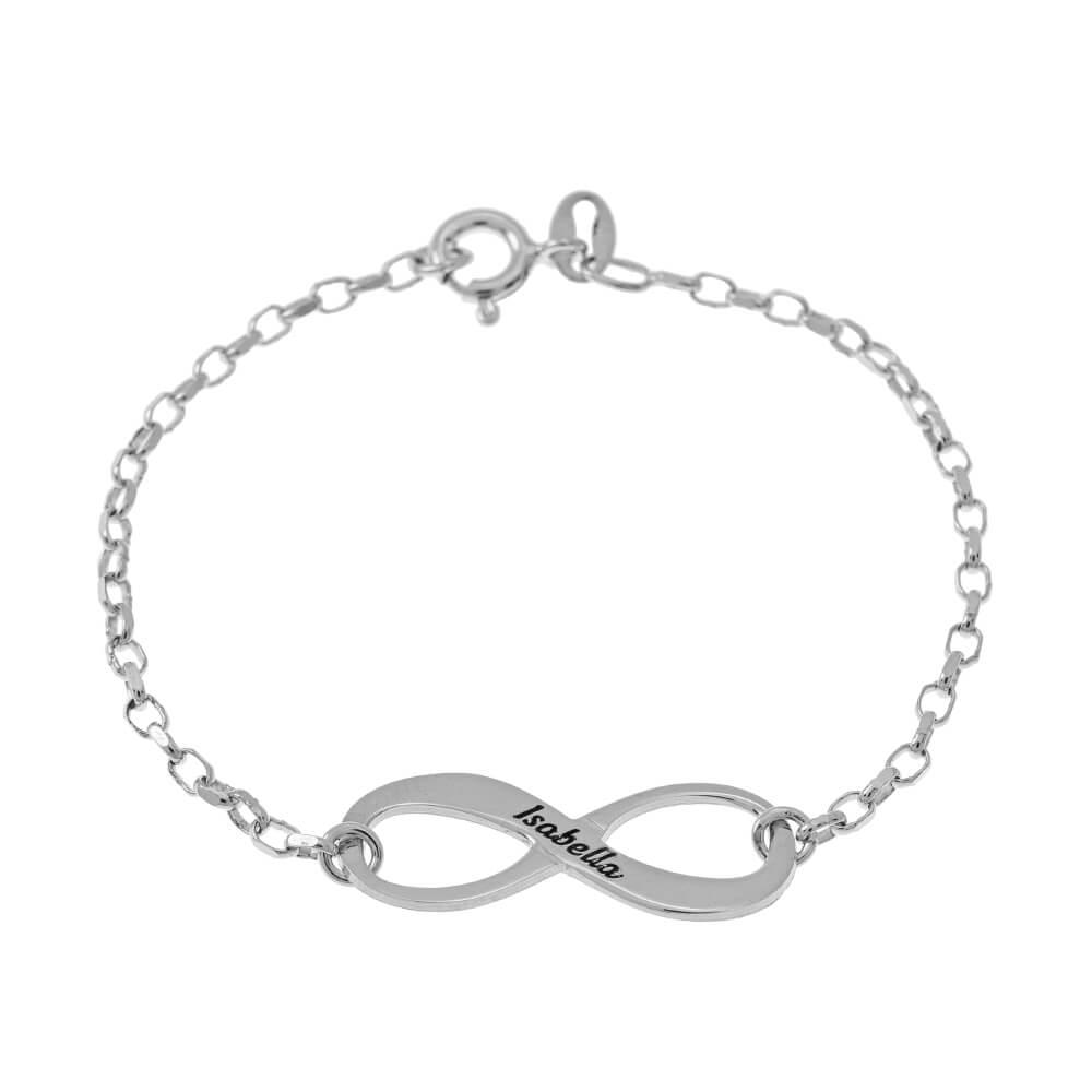 Engraved infinity Bracelet silver