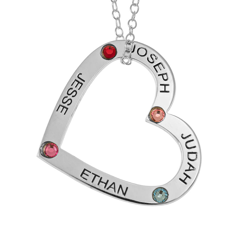 Family Heart Pendant with Names and Birthstones silver