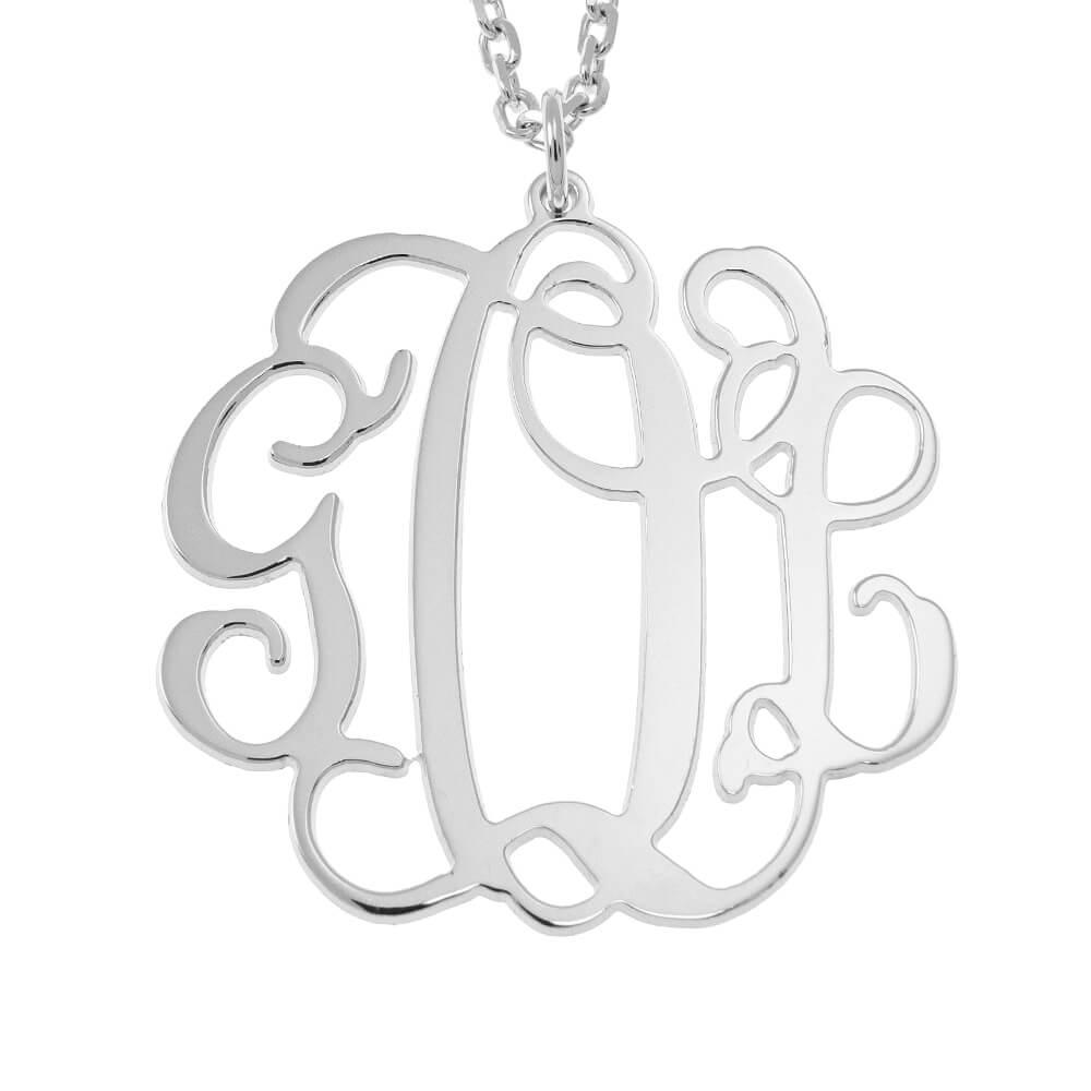 Hanging Monogram Necklace silver