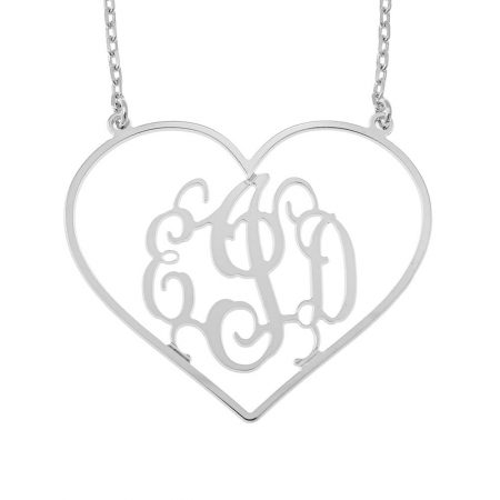 Heart Shape Monogram Necklace