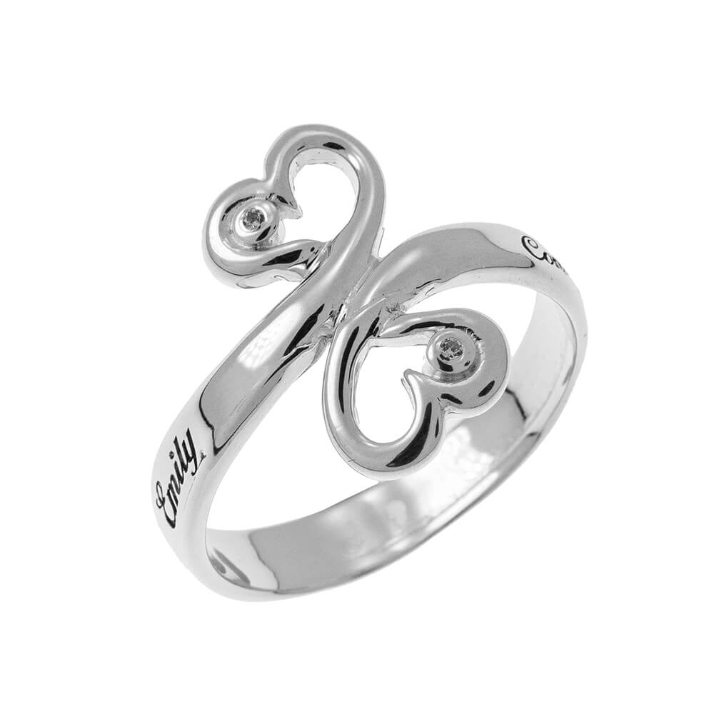Heart to Heart Promise Ring with Birthstones silver 1