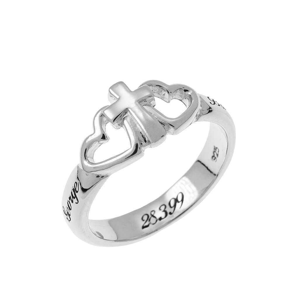 Hearts and Cross Promise Ring silver