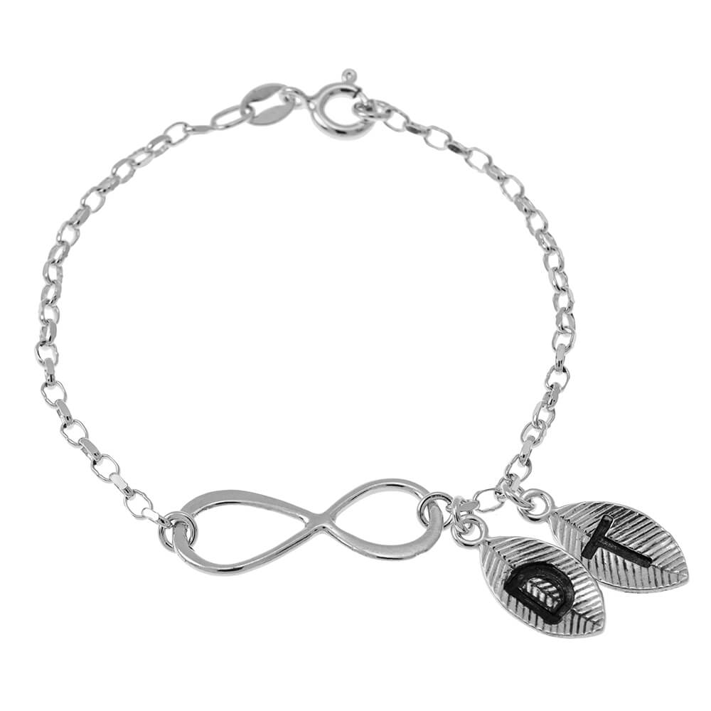 Infinity and Leaves Bracelet silver