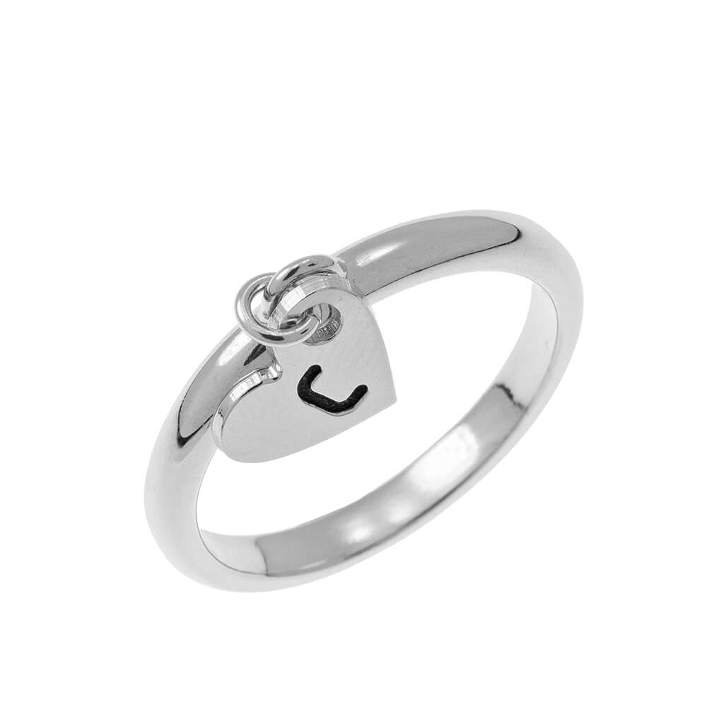 Initial Heart Charm Ring silver