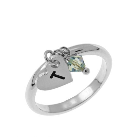 Initial Heart Charm Ring with Birthstone